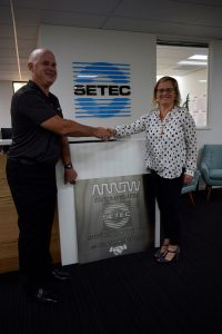 Presentation of Arrow sign to Louise Bayliss, CEO of Setec