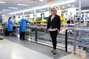 Setec CEO Louise Bayliss at the factory floor